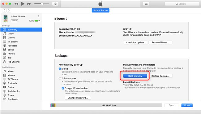 backup iPhone to iTunes before iOS 13 update