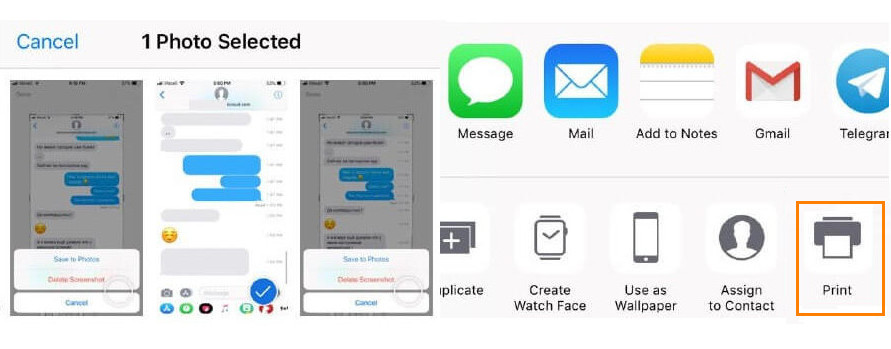 print text messages from iPhone via Screenshots