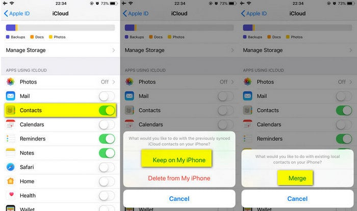 recover contacts from iCloud