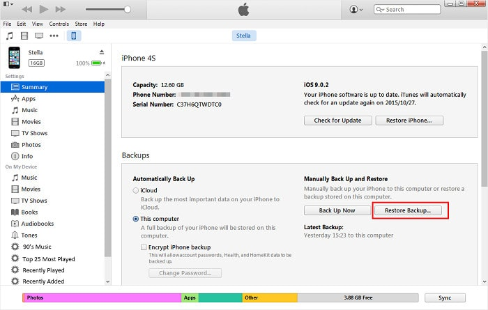 recover iPhone data using iTunes