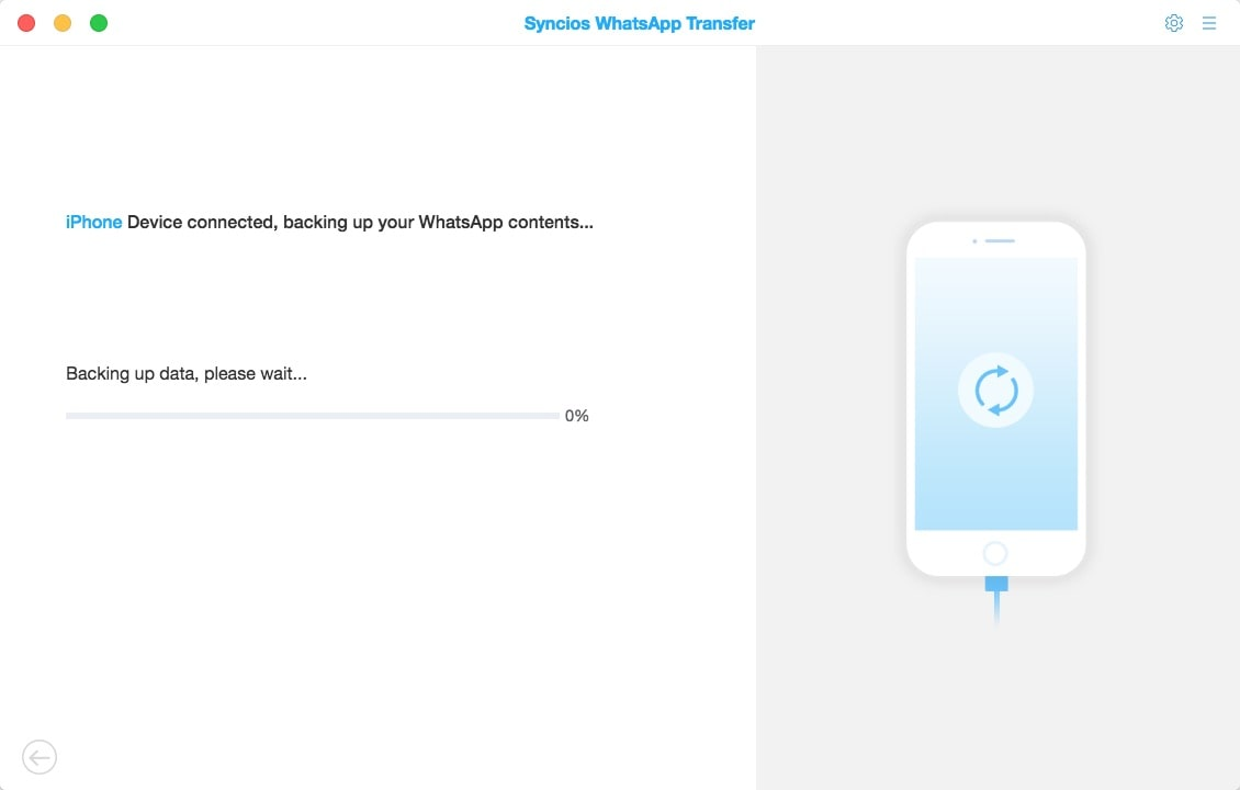 Screenshot of PanFone WhatsApp Transfer for Mac
